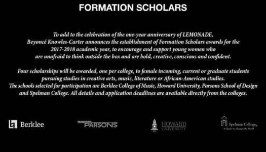 "Beyoncé Launches ""Formation Scholars"" Scholarship Program"